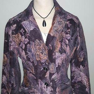 DKNY XS Purple Orange Floral Brocade Blazer